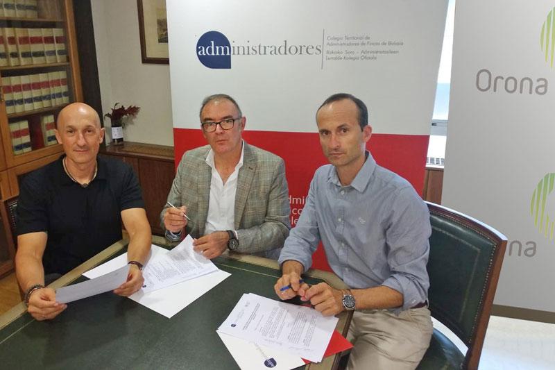 El Colegio de Administradores de Fincas de Bizkaia firma la renovación del convenio de patrocinio con la empresa ORONA