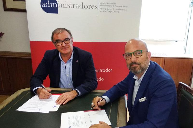 El Colegio de Administradores de Fincas de Bizkaia firma la renovación del convenio con la empresa Coutot-Roehrig