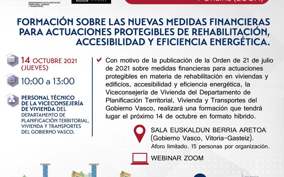 Formación sobre las nuevas medidas financieras para actuaciones protegibles de rehabilitación, accesibilidad y eficiencia energética